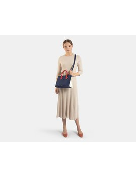 The Strathberry Midi Tote   Tri Colour Navy/Ruby/Vanilla by Strathberry
