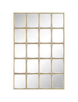 "Kailan Gold 24"" X 36"" Rectangular Paneled Wall Mirror by Lamps Plus"