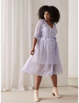 Striped Dress With Button Down Front   Lost Ink by Penningtons
