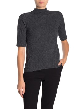 Elbow Sleeve Jersey Mock Neck Cashmere Pullover by M By Magaschoni