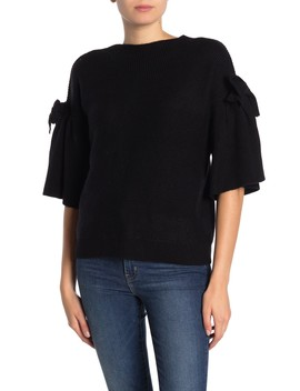Elbow Sleeve Bow Tie Cashmere Pullover by The Cashmere Project