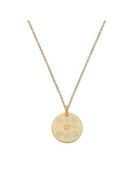 Icon Yellow Gold Enamel Blossoms Circle Pendant Necklace by Jr Dunn