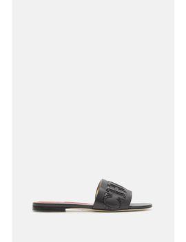 Croc Effect Leather Slides by Ch Carolina Herrera