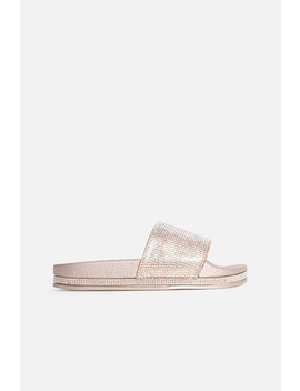 Champagne Taylor Sliders With Silver Diamanté Stripe by Luxe To Kill