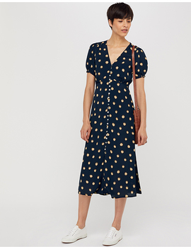 Percy Spot Print Button Dress by Monsoon