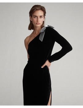 Bow Brooch Velvet Dress by Ralph Lauren