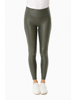 Olive Ready To Wow Faux Leather Leggings by Spanx