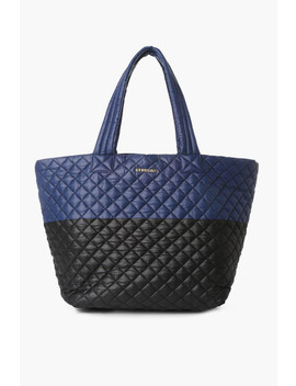 Navy And Black Color Block Large Metro Tote by Mz Wallace