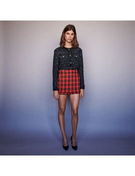 Trompe L'oeil Checkered Shorts by Maje