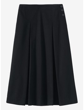 Black Denim Side Button Skirt by Toast