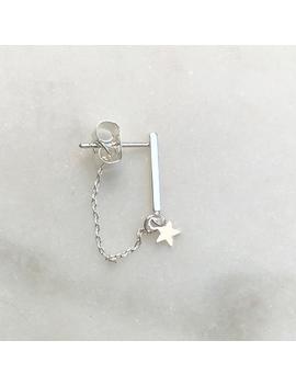 Earring Bar Chain  Star Silver by By Nouck