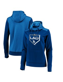 Women's Los Angeles Dodgers Majestic Royal 2019 Postseason Dugout Authentic Pullover Hoodie by Ml Bshop