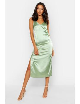 Tall Side Split Satin Midi Slip Dress by Boohoo