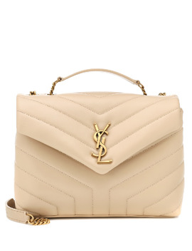 Small Loulou Leather Shoulder Bag In Beige by Saint Laurent