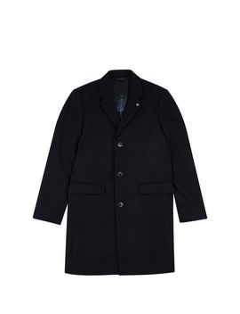 Black Wool Blend Peacoat by Burton