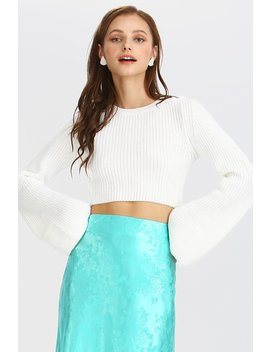 Ellie Rib Knit Bell Sleeve Crop Top by Storets
