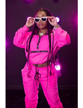 Aaliyah Jay: Exclusive Neon It Girl Windbreaker Cropped Hoodie by Fanjoy