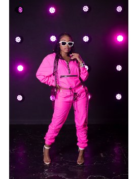 Aaliyah Jay: Exclusive Neon It Girl Windbreaker Joggers by Fanjoy