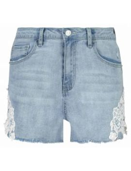 Lace Detailing Denim Shorts by Edgars