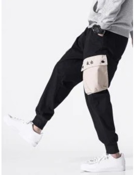 --hot-chinese-letter-pocket-color-block-jogger-pants---black-m by zaful