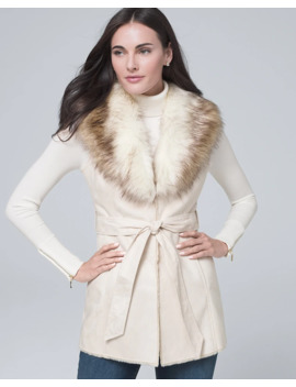 Faux Shearling Collar Vest by Whbm
