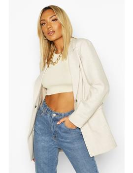 Herringbone Wool Look Belted Jacket by Boohoo