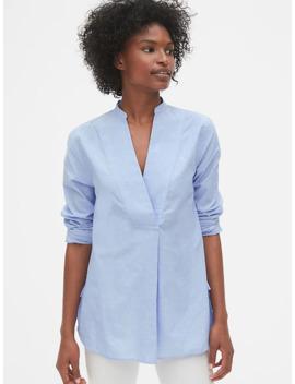 Split Neck Popover Tunic Shirt by Gap