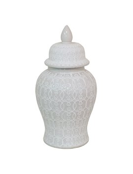 Three Hands Ceramic Temple Jar White by Hayneedle