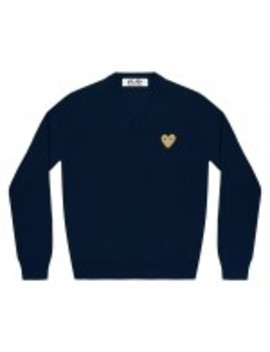 Play Comme Des Garçons Gold Heart V Neck Sweater (Navy) by Dover Street Market