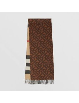 Reversible Check And Monogram Cashmere Scarf by Burberry