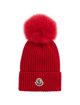 Red Wool Pom Pom Hat by Moncler Enfant