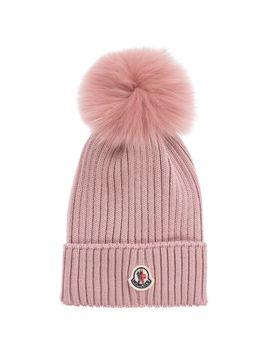 Pink Wool Pom Pom Hat by Moncler Enfant