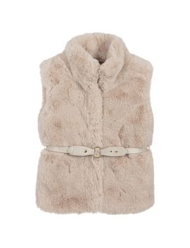 Girls Beige Faux Fur Gilet by Mayoral