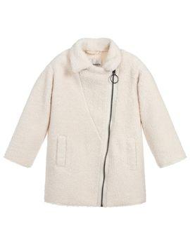 Girls Ivory Faux Fleece Coat by Little Eleven Paris