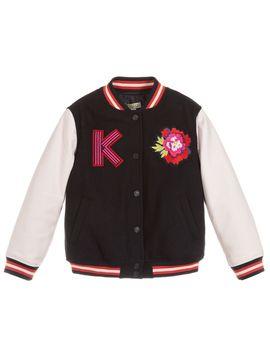 Girls Navy Blue Bomber Jacket by Kenzo Kids