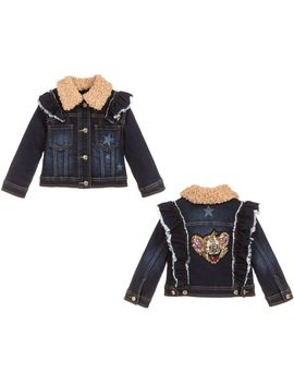 Girls Blue Denim Jacket by Monnalisa