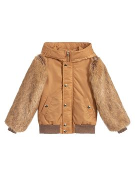 Girls Brown Bomber Jacket by Chloé