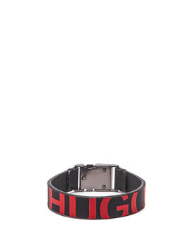 Italian Leather Cuff With Raised Cropped Logo by Boss