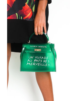 Xanthe Clear Slogan Handbag In Green by Ikrush