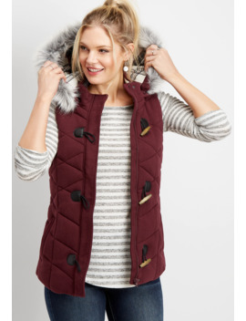 Hooded Toggle Puffer Vest by Maurices