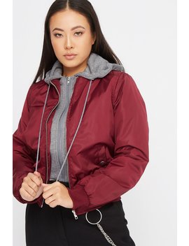 Jersey Hooded Bomber Jacket by Urban Planet