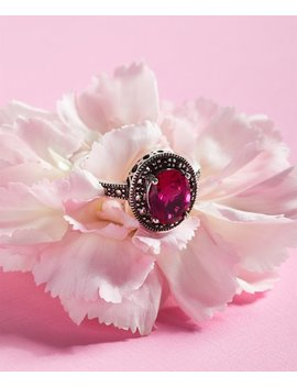 Red Cubic Zirconia Oval Ring With Swarovski® Marcasite by Kanishka