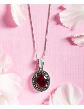 Red Cubic Zirconia Oval Necklace With Swarovski® Marcasite by Kanishka