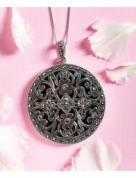 Onyx Filigree Round Pendant Necklace With Swarovski® Marcasite by Kanishka