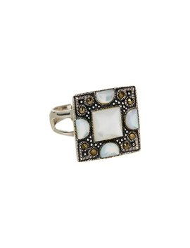 Mother Of Pearl &Amp; Marcasite Square Ring by Yalita D. Designs