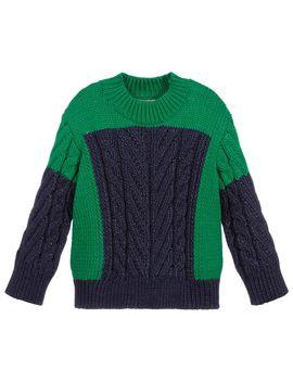 Green & Blue Cotton Sweater by Stella Mc Cartney Kids