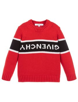 Red Knitted Wool Sweater by Givenchy Kids