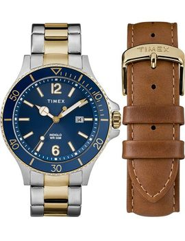 Harborside 43mm Bracelet Watch Gift Set With Extra Strap by Timex