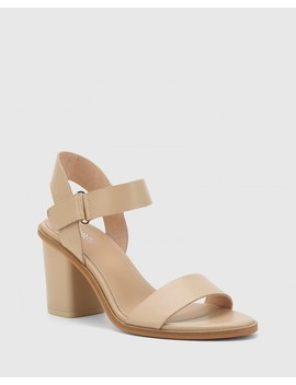 Finity Ecru Nappa Leather Block Heel Sandal by Wittner
