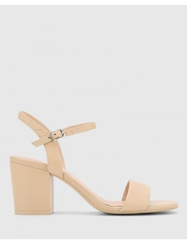 Collin Ecru Leather Block Heel Ankle Strap Sandal by Wittner